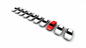 Ten Cars, One Red! Royalty Free Stock Photos