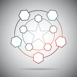 Ten cells connected in a pentagram. Gradient. Vector Graphics Royalty Free Stock Photo