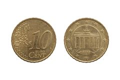 Ten cent euro coin of Germany Brandenburg Gate of Berlin. Ten cent euro coin of Germany dated 2002 showing the Brandenburg Gate of Berlin on the reverse cut out royalty free stock photos