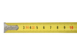 Ten centimeters of measuring tape. Background is pure white royalty free stock photo