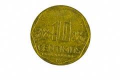 Ten Centimos Metal Coin From Peru Closeup Royalty Free Stock Image