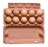 Ten chicken eggs in a carton. White isolated background. Close-up. stock photography