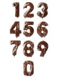 Ten chocolate numbers Royalty Free Stock Photo