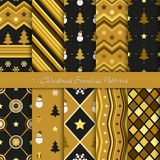 Ten Christmas geometrical seamless patterns in black and golden colours. Endless texture for wallpaper, web page background, wrapping paper and etc vector illustration
