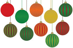 Ten Christmas Ornaments. Ten Fabulous Christmas Ornaments. Each ball is grouped separately for easy editing Stock Photo