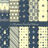 Ten Christmas seamless patterns in dark blue and beige colours. Endless texture for wallpaper, web page background, wrapping paper and etc vector illustration