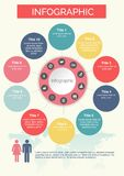 Ten circles Infographics Colorful with icons design. Vector elements for infographic. Template for diagram, graph, presentation and chart. Business concept Stock Photography