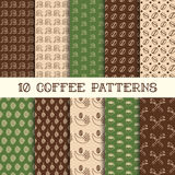 Ten coffee patterns Royalty Free Stock Image