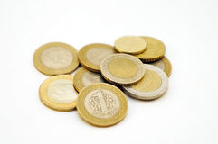 Money. Ten coins lying a small group. From above the Turkish lira lies Stock Photo