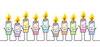 Ten color candles. Vector hand drawn cartoon characters Royalty Free Stock Photo