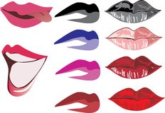 Ten color women lips Royalty Free Stock Images