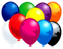 Ten colored balloons Royalty Free Stock Photos