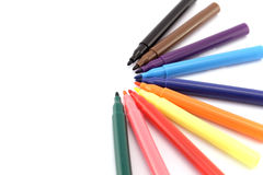Ten Colored Markers Stock Image