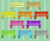 Ten colorful benches with ten different colors vector illustration