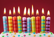 Ten colorful candles royalty free stock photo