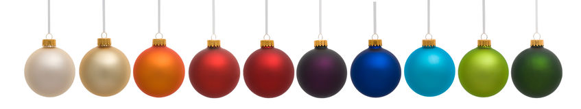 Ten Colorful Christmas Ornaments Royalty Free Stock Photo