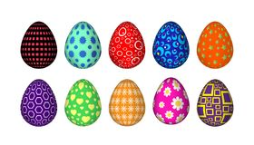 Ten colorful Easter eggs with simple patterns of geometric figures vector illustration