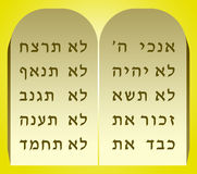 Ten Commandments. The two tablets of stone on which the Ten Commandments were engraved in Hebrew Royalty Free Stock Images