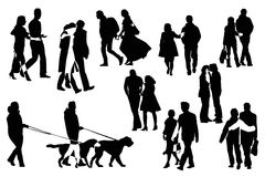 Ten couple  silhouettes Royalty Free Stock Images