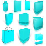 Ten cyan blank boxes  on white Royalty Free Stock Images