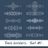 Ten decorative borders in white color. Set 1 Stock Photo