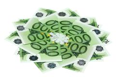 Ten denominations on hundred euros. On a white background Stock Photography