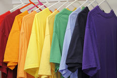 Ten Different Colors of T-Shirts Royalty Free Stock Photos