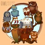 Ten different owls on a branch, cartoon series Stock Photo