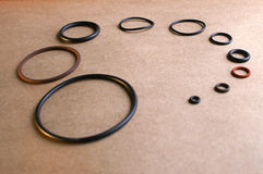 Ten different sizes of o-rings. Starting with very small and getting progressively larger stock photography