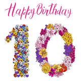 Ten digit made of different flowers. Floral element of colorful alphabet made from flowers. Happy birthday inscription. Vector ill Stock Photography