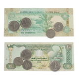 Ten Dirham Note and Coins Royalty Free Stock Photos