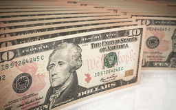 Ten dollar banknotes Stock Image