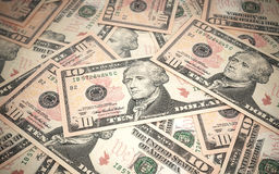 Ten dollar banknotes stacks Royalty Free Stock Photos