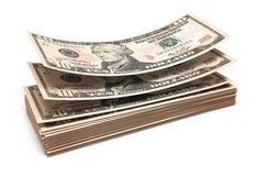 Ten dollar banknotes stacks Stock Photo
