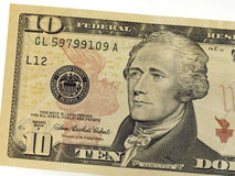 Ten dollar bill. Detail of the new American $10.00 (Ten dollar) bill or note recently issued by the United States Treasury, with a picture of Alexander Hamilton Stock Photo
