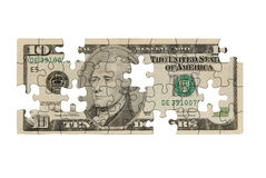 Ten dollar bill. With pieces missing isolated over white Royalty Free Stock Photography