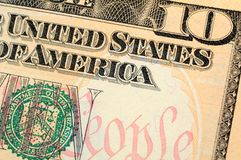 Ten dollar bill closeup Royalty Free Stock Photos