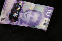 Ten dollar bill- new Canadian currency for 2019 stock image