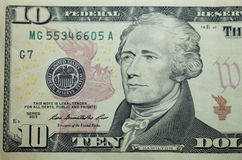 Ten dollar bill. 10 usd closeup macro, Alexander Hamilton portrait, united states money close up, 2013 series royalty free stock image