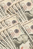 Ten Dollar Bills. Spread out.  There are many of them Royalty Free Stock Images