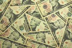 Ten dollar bills  background Stock Image