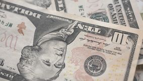 Ten Dollar Bills Rotating stock footage