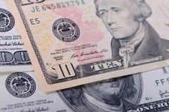 Ten dollars banknotes Stock Photography