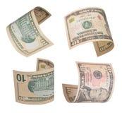 Ten dollars bills. Set of flying ten dollars bills. Isolated on white Royalty Free Stock Photos
