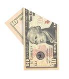Ten dollars. Folded ten dollars bill isolated on white background Stock Images