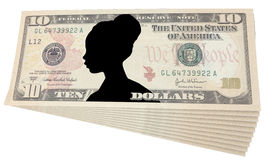 Ten dollars with the image of a woman Royalty Free Stock Image