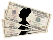 Ten dollars with the image of a woman Stock Photos