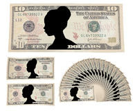 Ten dollars with the image of a woman Stock Photo