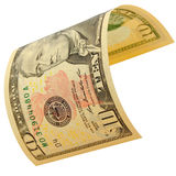 Ten dollars isolated. The denomination of ten dollars isolated Royalty Free Stock Image