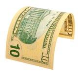 Ten dollars isolated. The denomination of ten dollars isolated Royalty Free Stock Photos